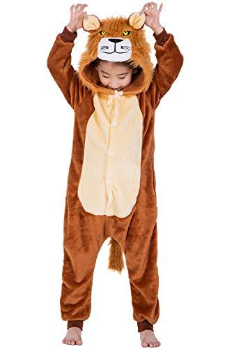 Kostüm Kleinkind Löwen Mädchen - Dolamen Kinder Unisex Jumpsuits, Kostüm Tier Onesie Nachthemd Schlafanzug Kapuzenpullover Nachtwäsche Cosplay Kigurum Fastnachtskostuem Weihnachten Halloween (Höhe 120-130CM (47