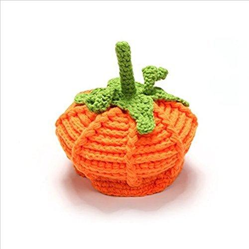 Edealing 2PCS infantil bebé de la calabaza Hat para ganchillo vestuario Mano apoyo de la foto de Halloween