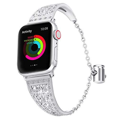 s Edelstahl Manschette Armband Für Apple Watch 38 / 40mm, Mode Ausgehöhlten Bling Uhrenarmband Ersatzarmband (Silber) ()