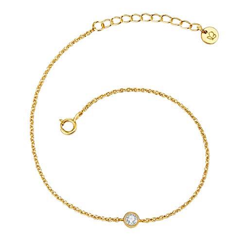 Glanzstücke München Damen-Armband Sterling Silber 925 mit Topas gelbvergoldet - Spirituelles Armband mit Heilstein in Gelbgold-Farben