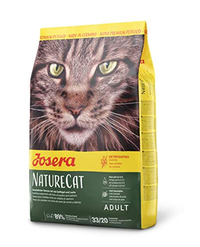 JOSERA NatureCat (1 x 2 kg) | getreidefreies Katzenfutter mit Geflügel und Lachs | Super Premium Trockenfutter für ausgewachsene Katzen | 1er Pack