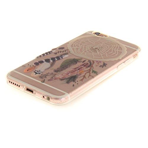 Meet de Slim de Protection Téléphone Case pour Apple iPhone 6 6S, Apple iPhone 6 6S Bumper Case Coque, Apple iPhone 6 6S Slim TPU Transparent Silicone Housse Etui pour Apple iPhone 6 6S - violet Campanula plume