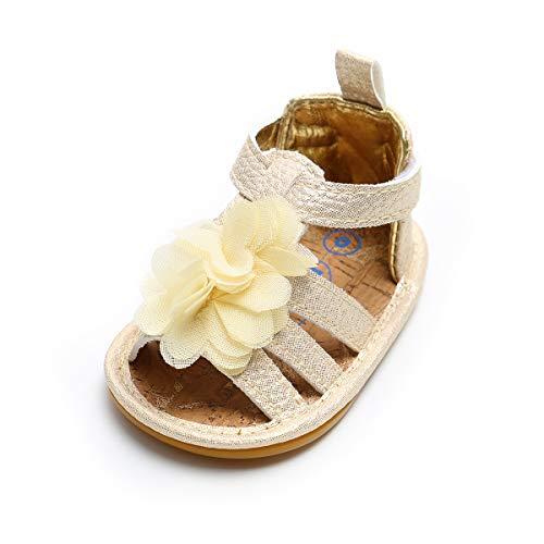 LACOFIA Baby Mädchen Sommer Schuhe Kleinkind Rutschfest Gummisohle Blumen Sandalen Gold 6-12 Monate (Kleinkind Schuhe Mädchen)