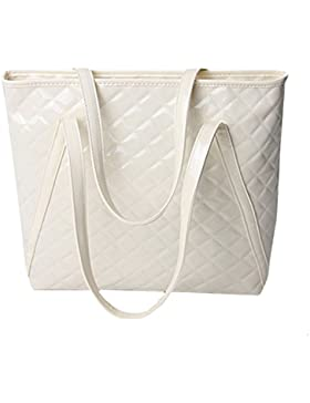 AiSi Damen Lack Leder spiegelte Gitter Handtasche/ Damenhandtasche/ Schultertasche/ Shopper/ Umhängetaschen/ Henkeltasche...