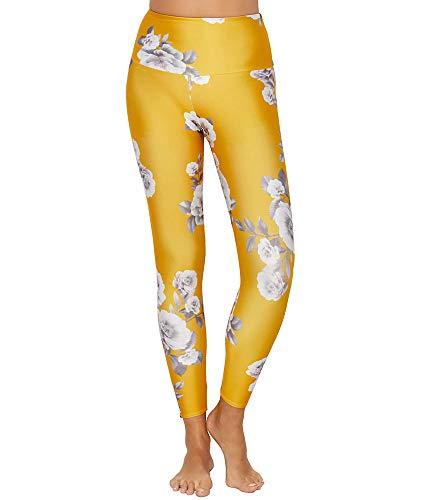 Leggins amarillos mujer. Brillantes con flores. Leggins divertidos y cómodos de lycra.