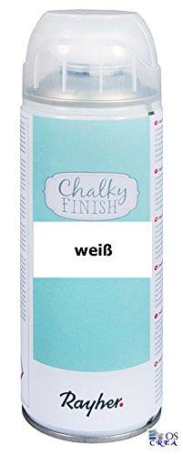 RAYHER Chalky Finish Spray 400ml, Kreidefarbe für eine Fläche von circa 1,5 - 2m², Weiß