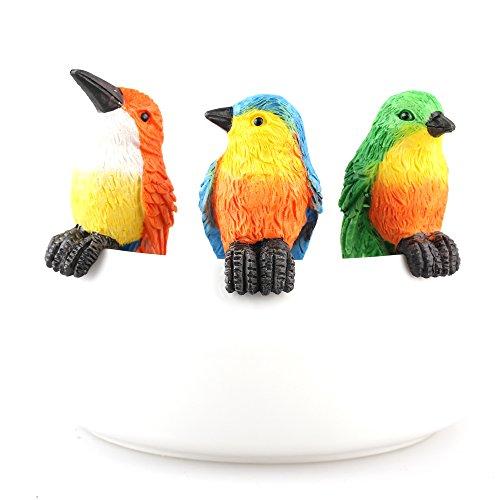 Scultura di uccelli in resina figura giardino vaso da fiori Decor Blu Robin figura clip Climb 3pezzi