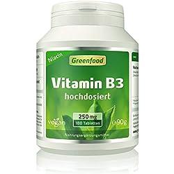 Greenfood Vitamin B3 Niacin, 250 mg, hochdosiert, 180 Tabletten, vegan – das Glücks-Vitamin, fördert die Durchblutung. OHNE künstliche Zusätze. Ohne Gentechnik.