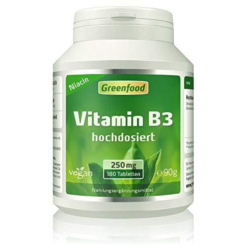 Vitamin B3 (Niacin), 250 mg, hochdosiert, 180 Tabletten, vegan – das Glücks-Vitamin, fördert die Durchblutung. OHNE künstliche Zusätze. Ohne Gentechnik.