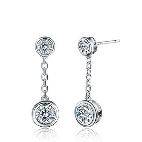Erica 925 Zirconia moda Hanging semplice / orecchini regalo perfetto per il regalo delle donne delle ragazze di San Valentino