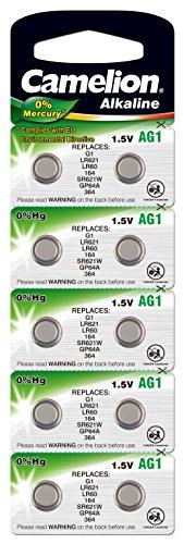 10 Stk. (1 Blister) Camelion 0%HG Alkaline 1,5V Knopfzellen Uhren-Batterien AG1, 164, 364, SR621, LR621