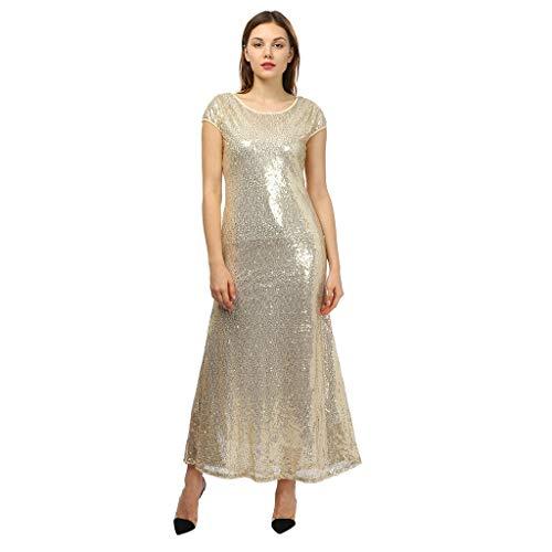 iYmitz Damen Mode Frauen Pailletten Flapper FlügelMinikleid LangesKleid A-Linie Bodenlangen Partykleider BrautjungfernPartykleid Ballkleid (Gold,EU-42/CN-S)