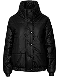 CANDY FLOSS NEW LADIES WETLOOK PUFFER BUBBLE ZIP BUTTON WOMENS PADDED QUILTED BOMBER JACKET COAT TOP