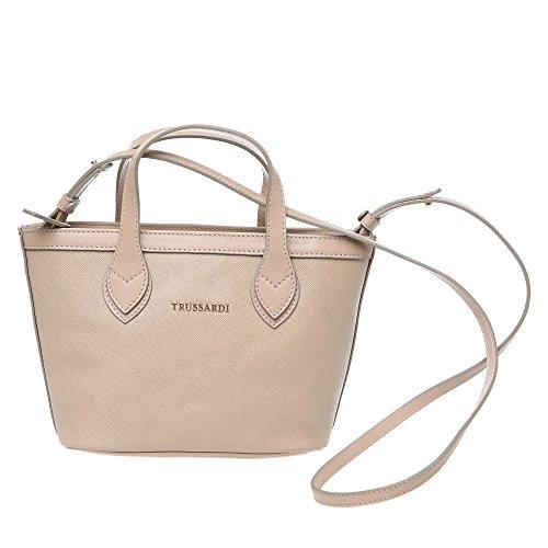Trussardi Borsa Piccola Shopping Bag a Mano con Tracolla in Saffiano Vera Pelle di Vitello - 24x16x8 Cm - Mod. 76B103M