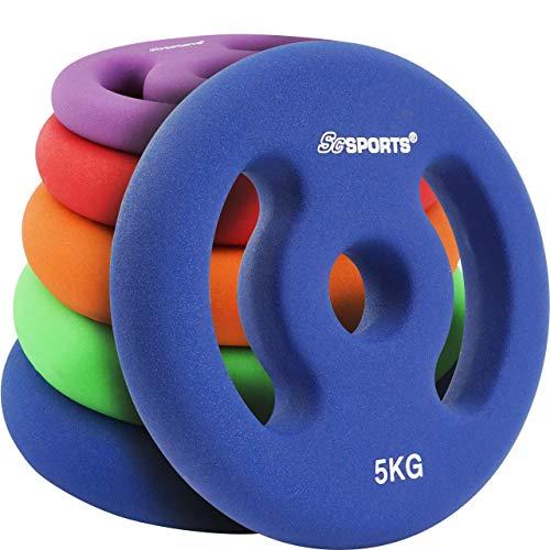 ScSPORTS Hantelscheiben Neopren mit Griffen, 10 kg Set: 2 x 5 kg, Guss Gewichte, 30/31 mm Bohrung, Blau -