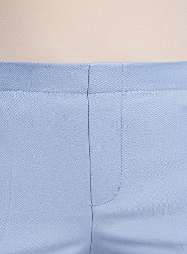 oodji Ultra Damen Verkürzte Hose mit Elastischem Bund Blau (7000N)