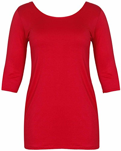 Damen Neu Bodycon Stretch Passform Lang Top Damen Dreiviertel Länge Ärmel  Übergröße T-Shirt Kleid