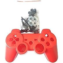 OSTENT Kit di pulsanti della custodia della scatola di controller completo compatibile per controller wireless di Sony PS3 Bluetooth - colore rosso