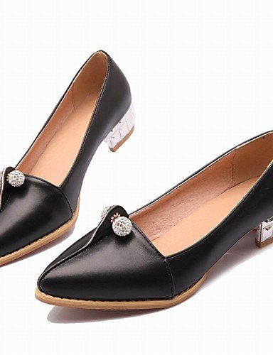 WSS 2016 Chaussures Femme-Bureau & Travail / Habillé / Décontracté-Noir / Rouge / Blanc-Gros Talon-Talons / Bout Pointu / Bout Fermé-Talons- black-us5 / eu35 / uk3 / cn34