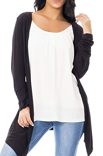 Smallshow top allattamento 2 in 1 cardigan maniche lunghe con canotta per donna medium black