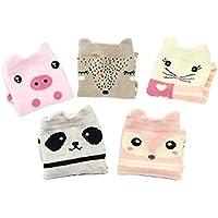 LHWY Calcetines sin costuras con cuello redondo de algodón para niños pequeños grandes para niños pequeños 5 pares