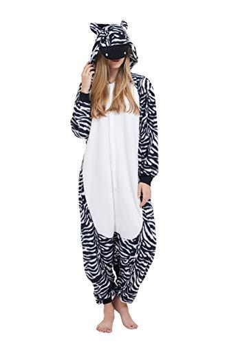 Fandecie Tier Kostüm Tierkostüm Tier Schlafanzug Zebra Pyjamas Jumpsuit Kigurumi Damen Herren Erwachsene Cosplay Tier Fasching Karneval Halloween (Zebra, M:Höhe 160-169cm)