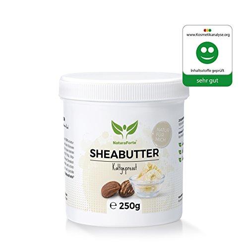 NaturaForte Shea Butter 250g - Rein und Natürlich - Kaltgepresst & Unraffiniert - Spendet Feuchtigkeit - Vegan - Body Butter Karite Männer...