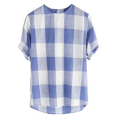 TWISFER Hemd Herren Summer Mode Plaid Lose Baumwolle Leinen T-Shirt Kurzarm O-Ausschnitt Tops T-Shirt Oberteile Bluse Kleidung Baumwollshirt -