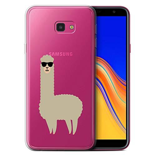 eSwish Gel TPU Hülle/Case für Samsung Galaxy J4 Plus 2018 / Coole Sonnenbrille Muster/Süßes Alpaka Kollektion