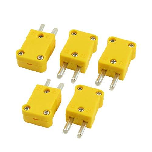 Sonda Thermoelement - Morning May 5 Stück Gelb Gehäuse aus Kunststoff flach männlich 2-Pin K Typ Thermoelement Draht -