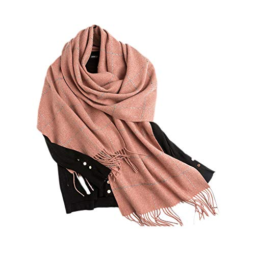 Xyuluy Wollschal, stilvoller und eleganter Stil, Quasten- und Silberdrahtdekoration, Warmer Schal, 40 * 240CM,E -