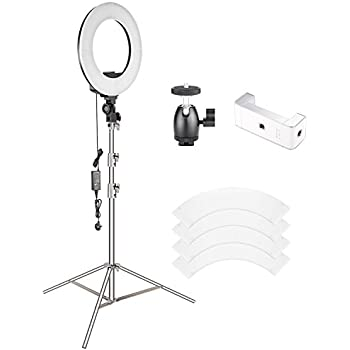makeup light stand. neewer 18 inches ring light with stand kit-bi-color 55w dimmable led smd makeup
