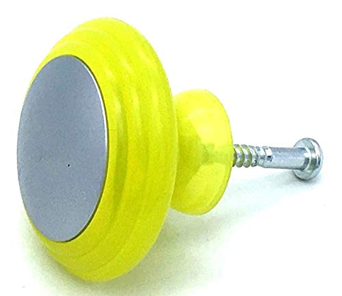 4 x Yellow & chrome effect 37mm knobs cupboard pull handles by Swish. by Swish