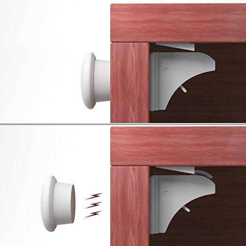 KIDUKU® Magic Lock 4 Schlösser und 1 Schlüssel - magnetisches Schrankschloss als Kindersicherung | Schubladensicherung mit Magnet | ohne Schrauben und Bohren | für Schränke und Schubladen