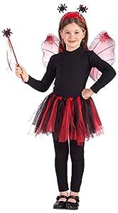 Carnival 06675-Juego ragnetto para niña, compuesto de falda y alas y diadema y varita, altura 35x 45cm, rojo, de sobre