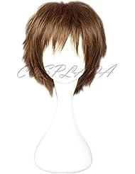 COSPLAZA Perruque brune courte Homme Anime Cosplay Wigs PUPA Utsutsu Hasegawa Cheveux