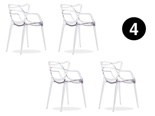 IBH DESIGN-Lote 4Sillas Miami-plexi-Transparente-inspirée