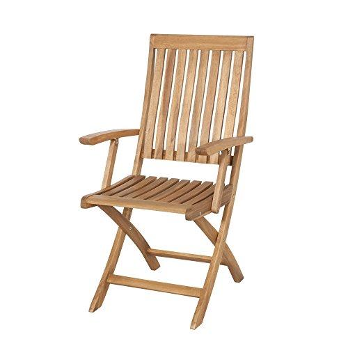 Siena Garden 120507 Chaise pliante avec accoudoirs Paleros bois d'acacia certifié FSC® 100% ferrures en acier galvanisé