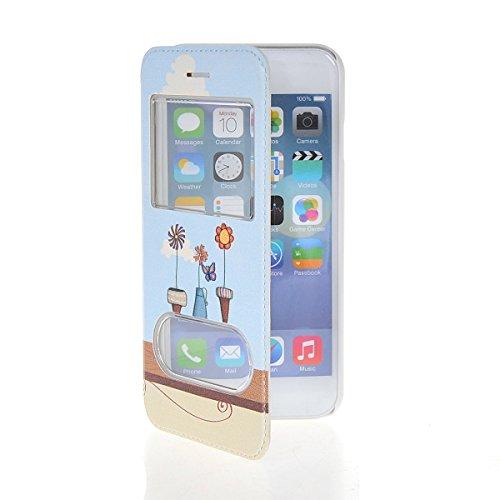 MOONCASE Coque en Cuir Housse de Protection Étui à rabat Case pour Apple iPhone 6 Plus A18139