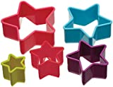 Kitchen Craft Colourworks Plastic Star Shaped Cookie Cutters - Set of 5