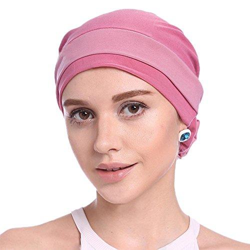 Damen Elegante Weich Chemo Turban Mütze Kopftuch für Chemotherapie,Krebs,Haarverlust (Glatze-mütze)