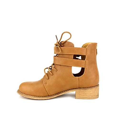 Camel Bottine Simili Chaussures Caramel Cendriyon Cuir Femme Retrana w8nw1