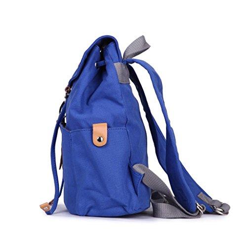 Eshow zaino di tela da donna casual da spalla chiusura a cordoncino blu