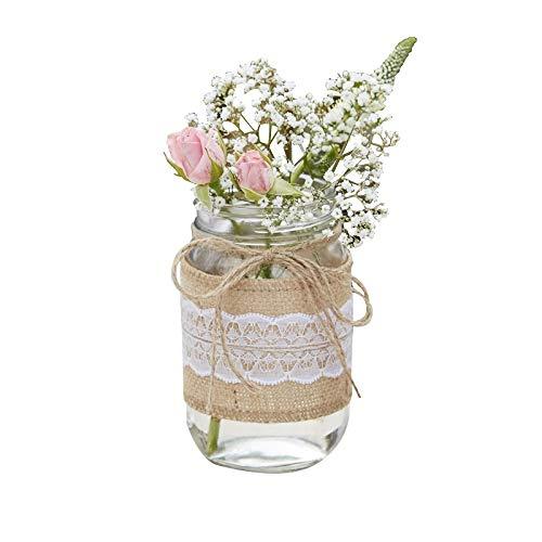 Blumen-Vase/Blumen-Glas mit Jute & weißer Spitze - Rustikal Spitze - Hochzeits-Deko/Tisch-Dekoration Vintage Hochzeit Geburtstag Blumen-Vase (3 Vasen) (Mit Blumen Glas-vase)