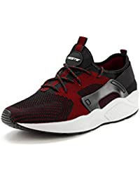 Recorrer Delta Men's Black & Red Lace-up Casual Sneakers Shoes