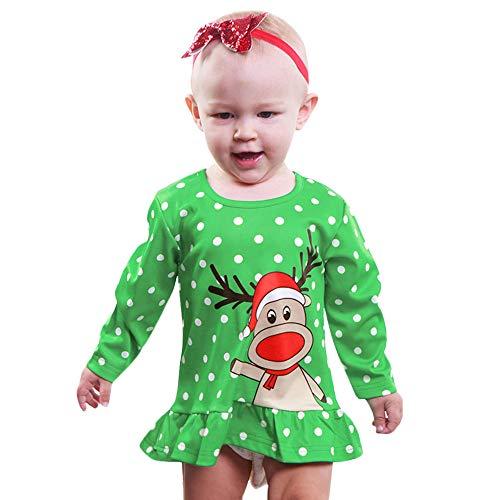 Baby Deer Kostüm - Markthym Kleinkind-Baby-Lange Hülsen-Karikatur-Rotwild-Punkt-Kleid-Weihnachtsprinzessin Clothes Kinder Halloween Langarm Polka Dot Rüschen Cartoon Deer Print Kleid
