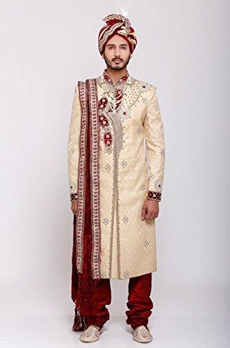Azio Design Men's Brocade Sherwani -Gold -L