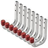 8 pezzi OrgaTech Gancio Multiuso Gancio da Muro Gancio da Montaggio in Acciaio Zincato / 80 x 120 mm / Portata 45 kg / Gancio Universale Gancio da Cantina o Garage