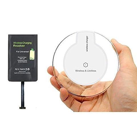 Heliomax Blanc LED Qi chargeur induction sans fil Station de