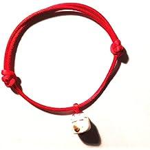 1 Bracelet Kawaii MANEKI NEKO porte-bonheur chat japonais fil rouge couleur AU CHOIX de la perle ceramique par mail blanc noir rouge
